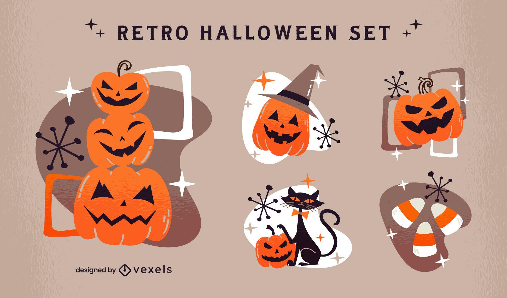 Conjunto retro de elementos de calabaza de halloween