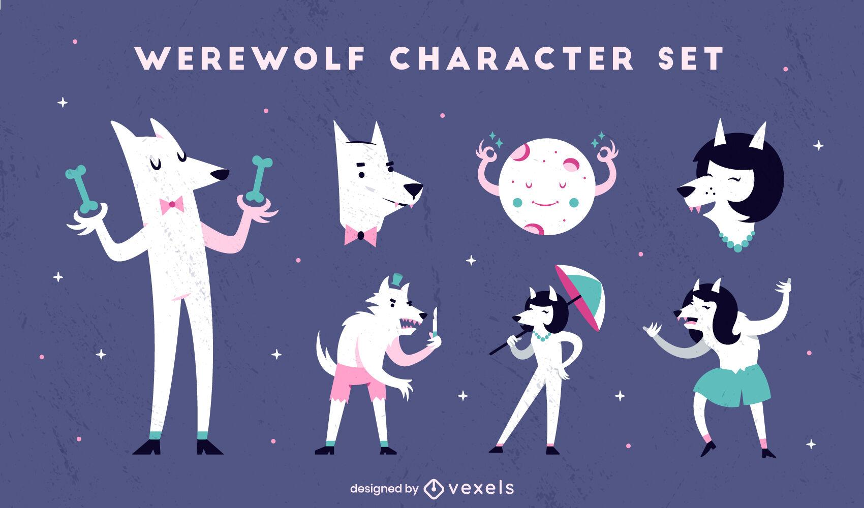 Conjunto de dibujos animados de halloween de hombre lobo