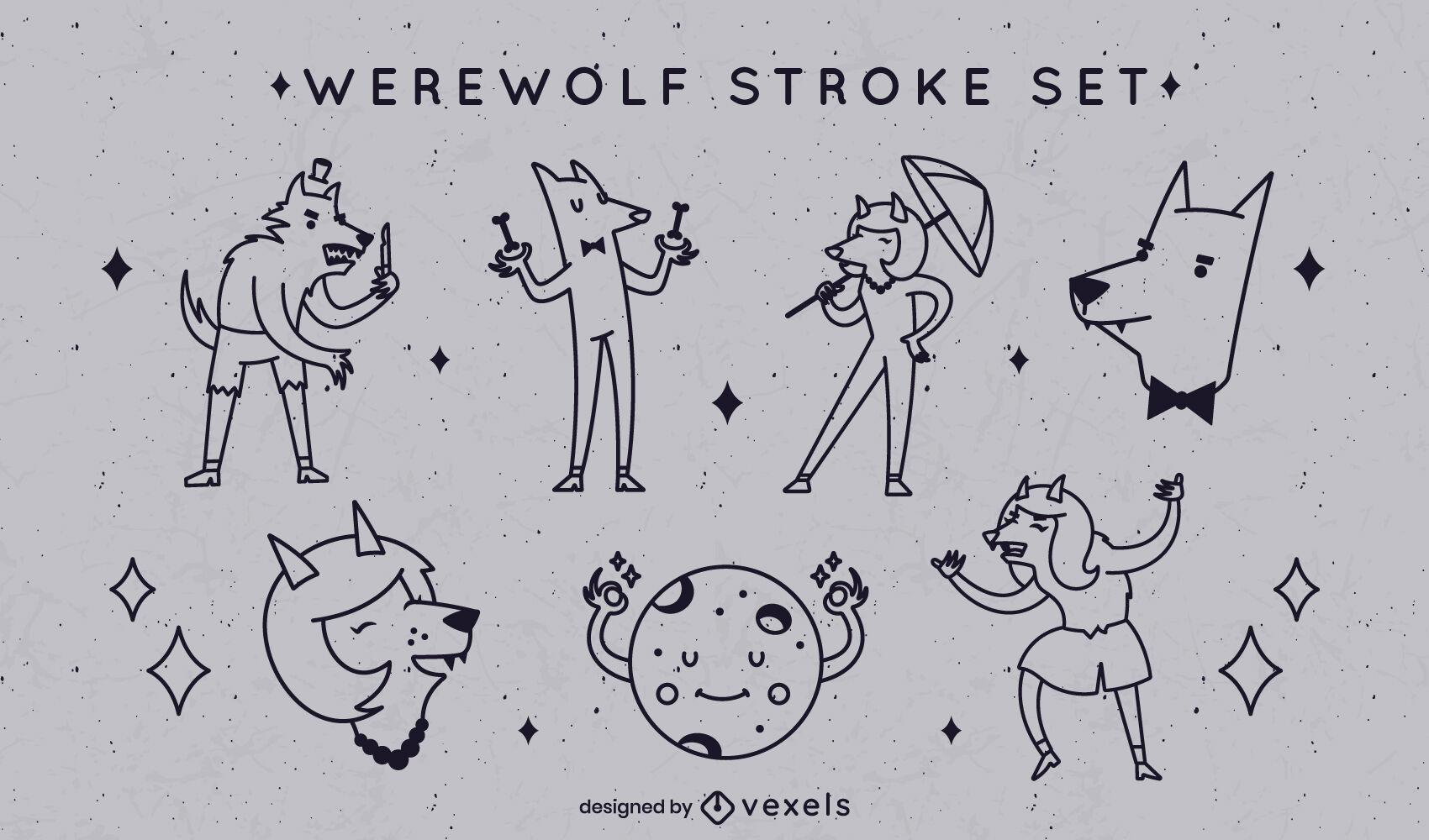 Conjunto de trazos de dibujos animados de halloween de hombre lobo