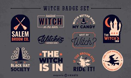 Colección de insignias de citas de bruja plana