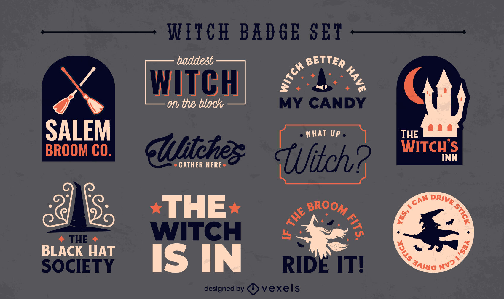 Witch quotes badges collection flat