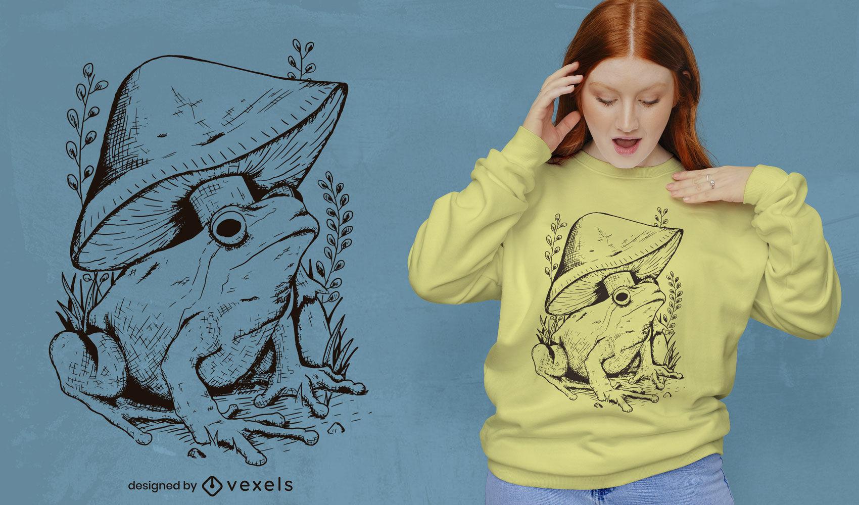 Design de camisetas com arte em linha sapo e cogumelo
