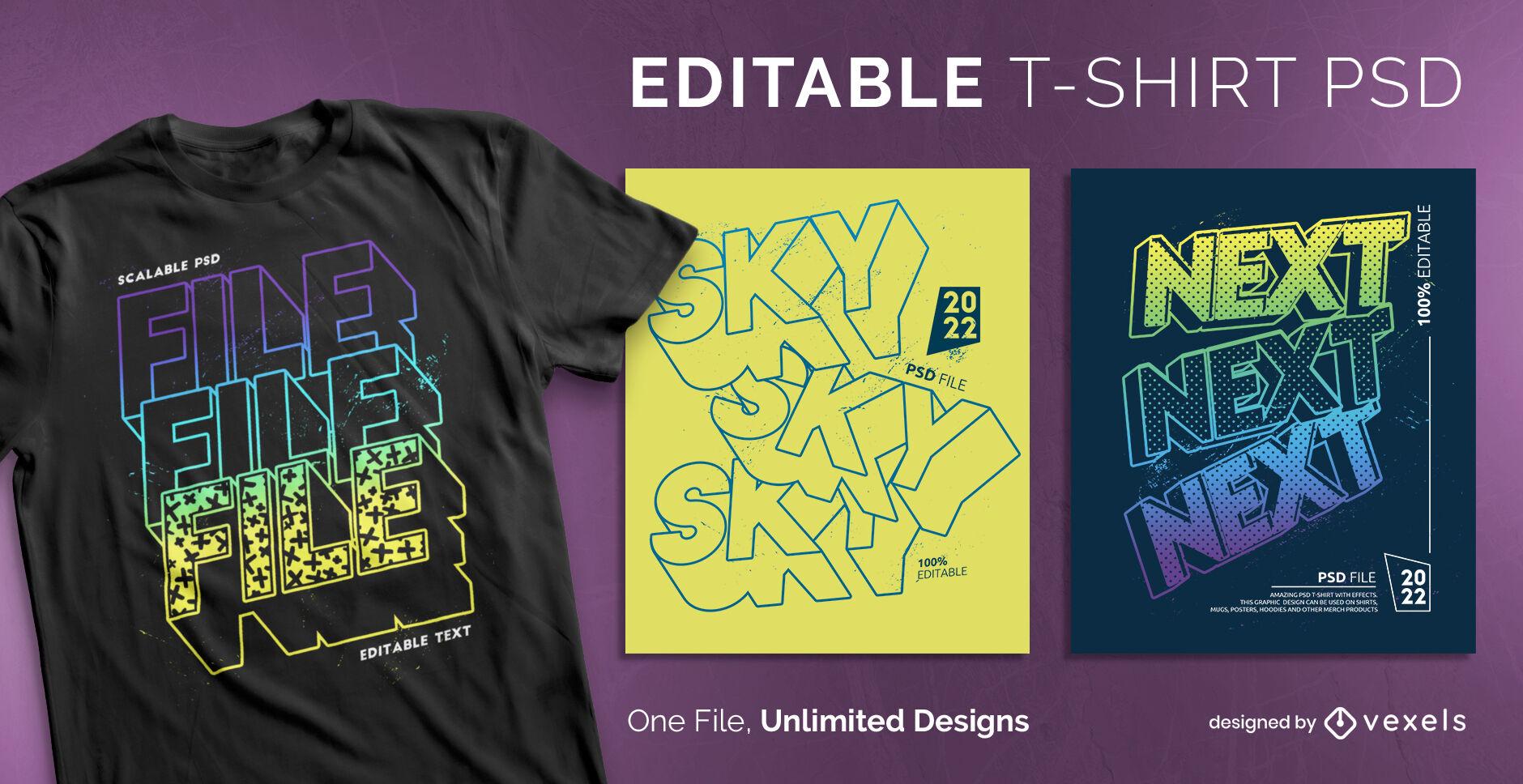 3D wiederholte Texteffekt-PSD-T-Shirt-Vorlage
