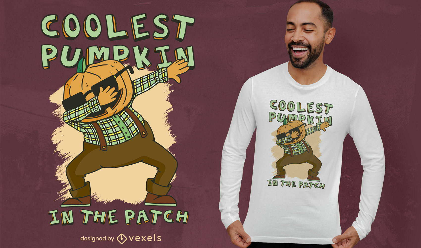 Calabaza dabbing cartoon camiseta deisgn