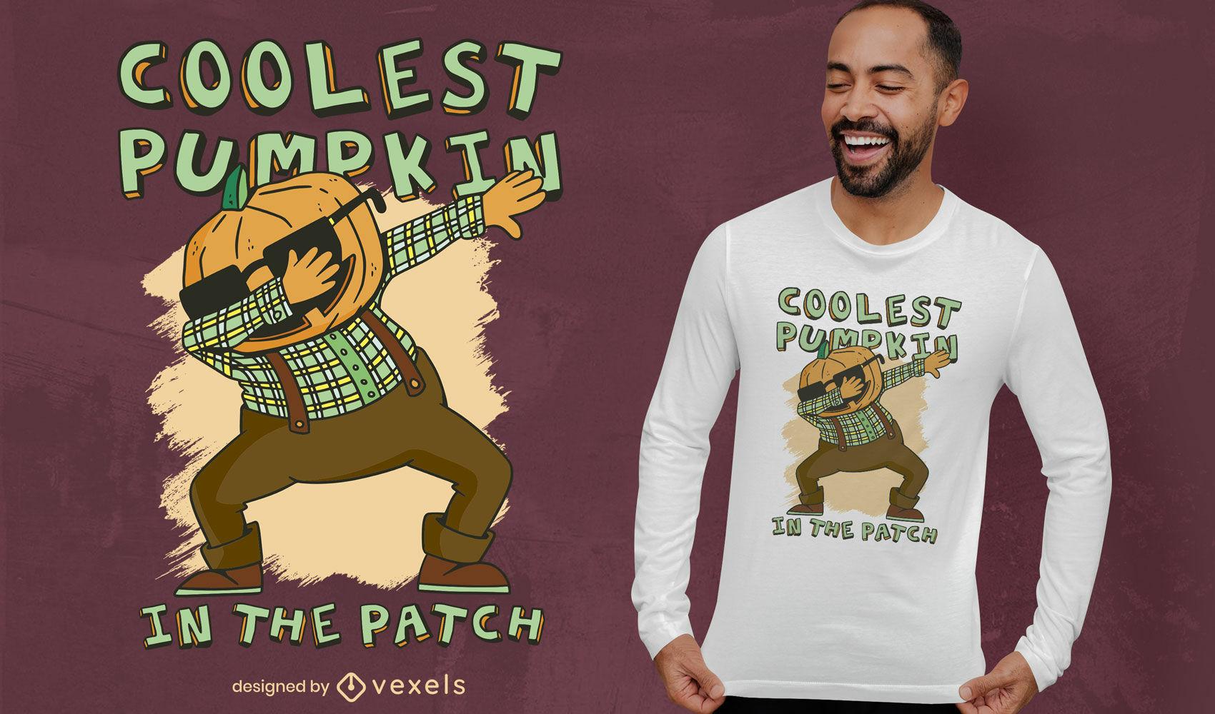 Pumpkin dabbing cartoon t-shirt deisgn