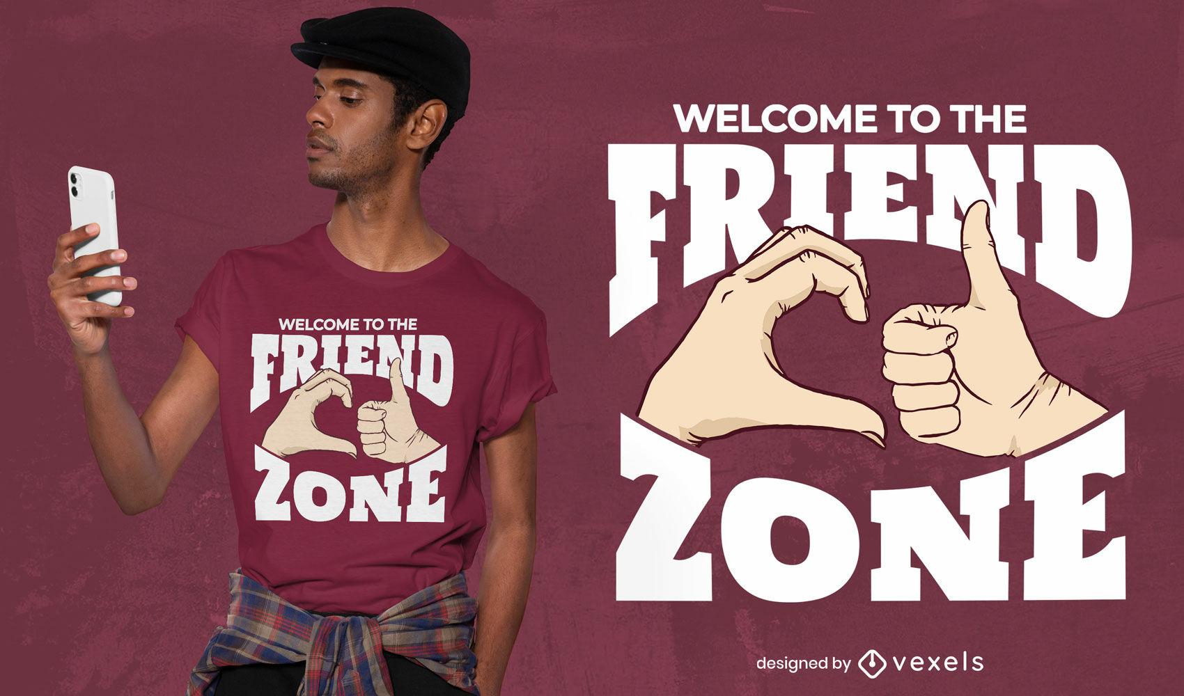Gestos com as mãos design de t-shirt de mensagem de friendzone