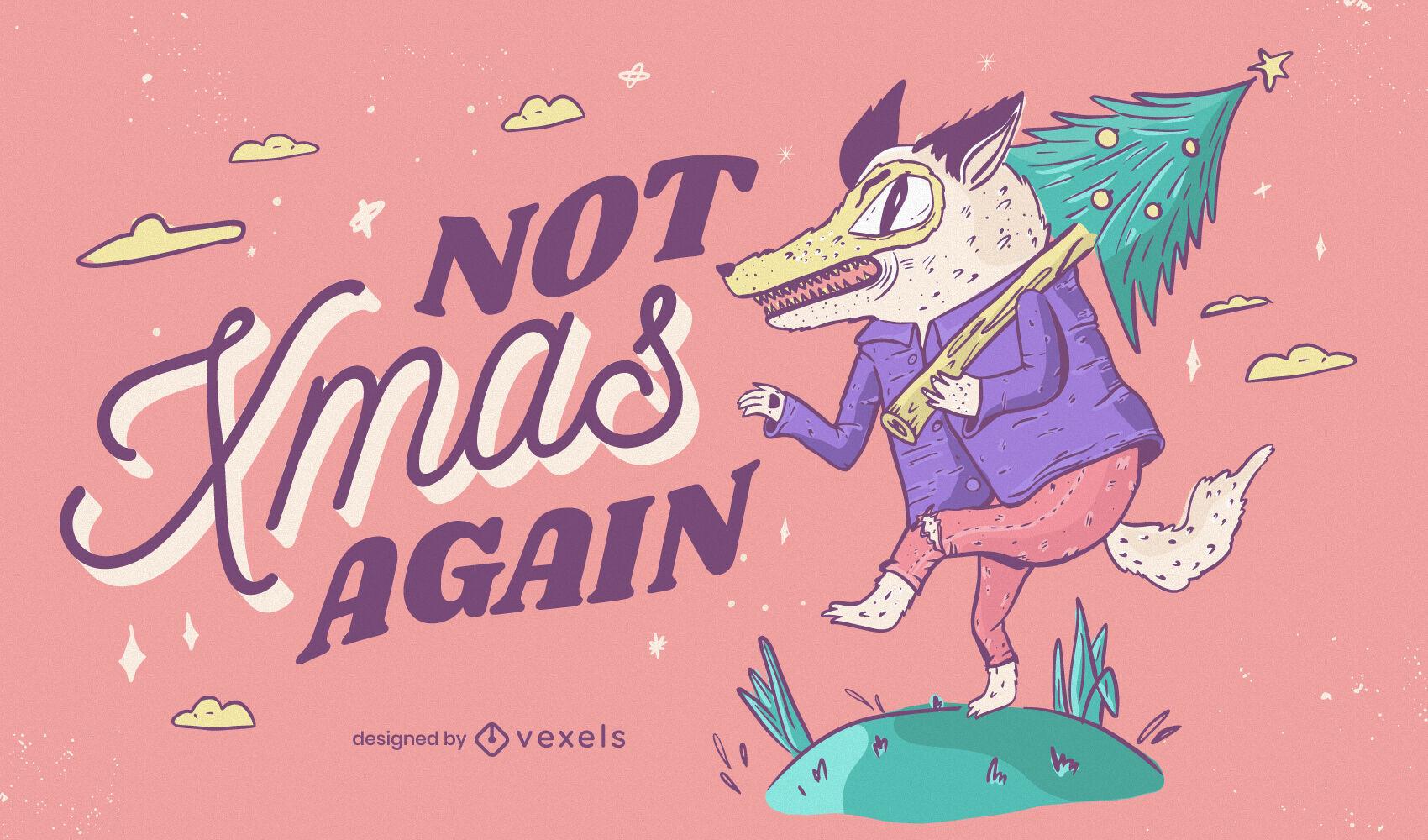 Funny anti christmas wolf illustration