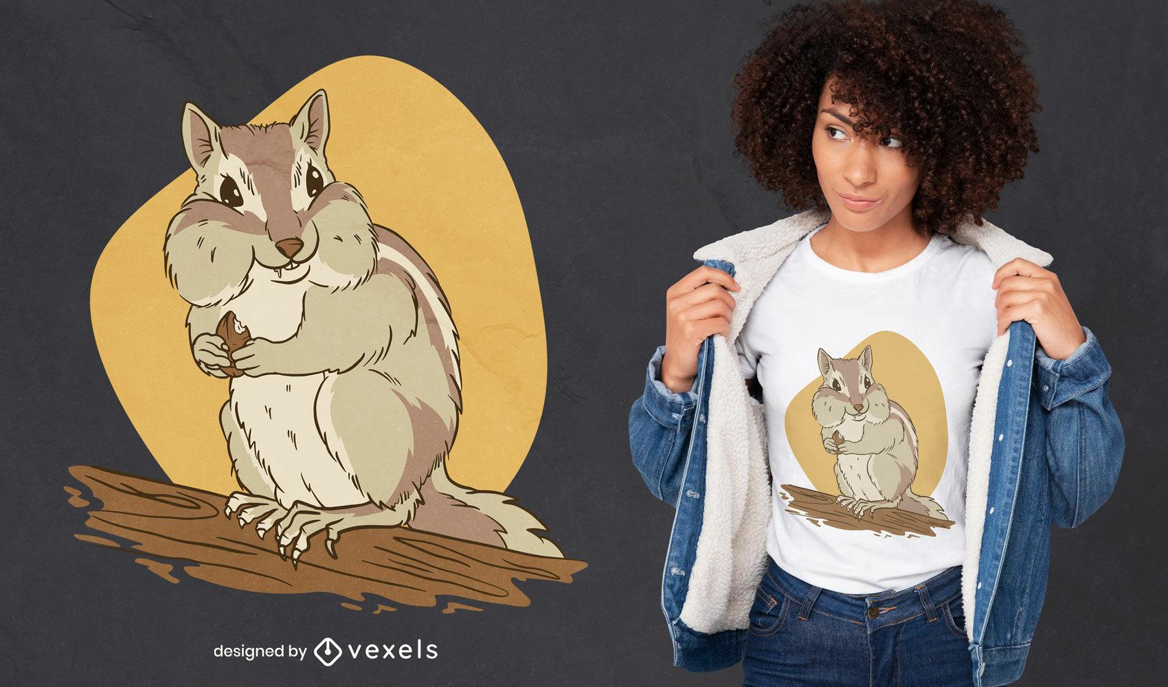 Chipmunk Tier isst Erdnüsse T-Shirt Design