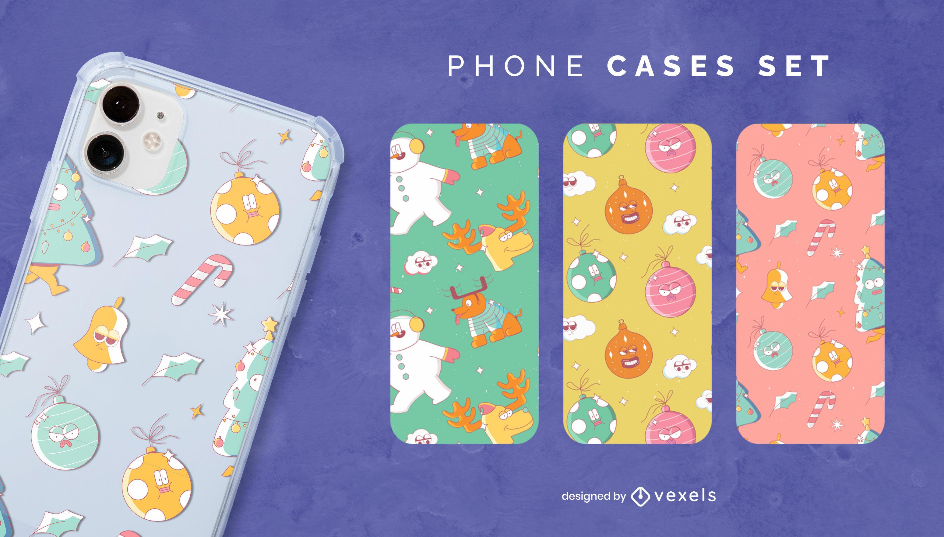 Conjunto de capa de celular para decorações de natal