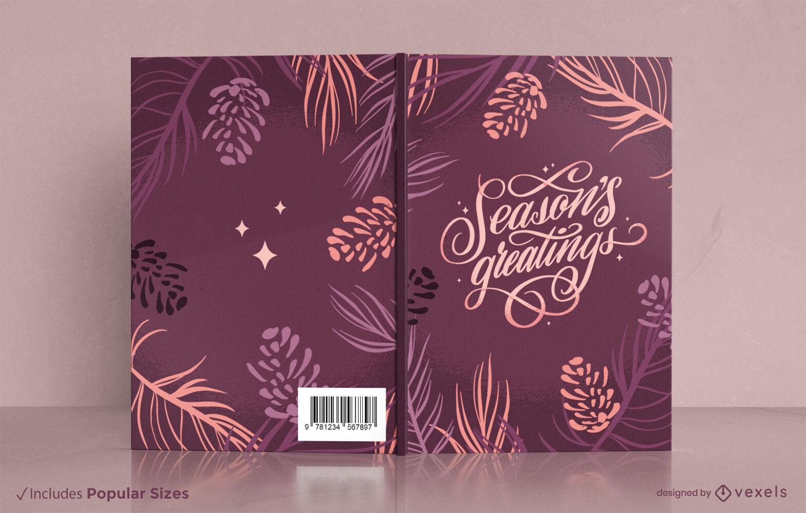Diseño de portada de libro de naturaleza de hojas y plantas.