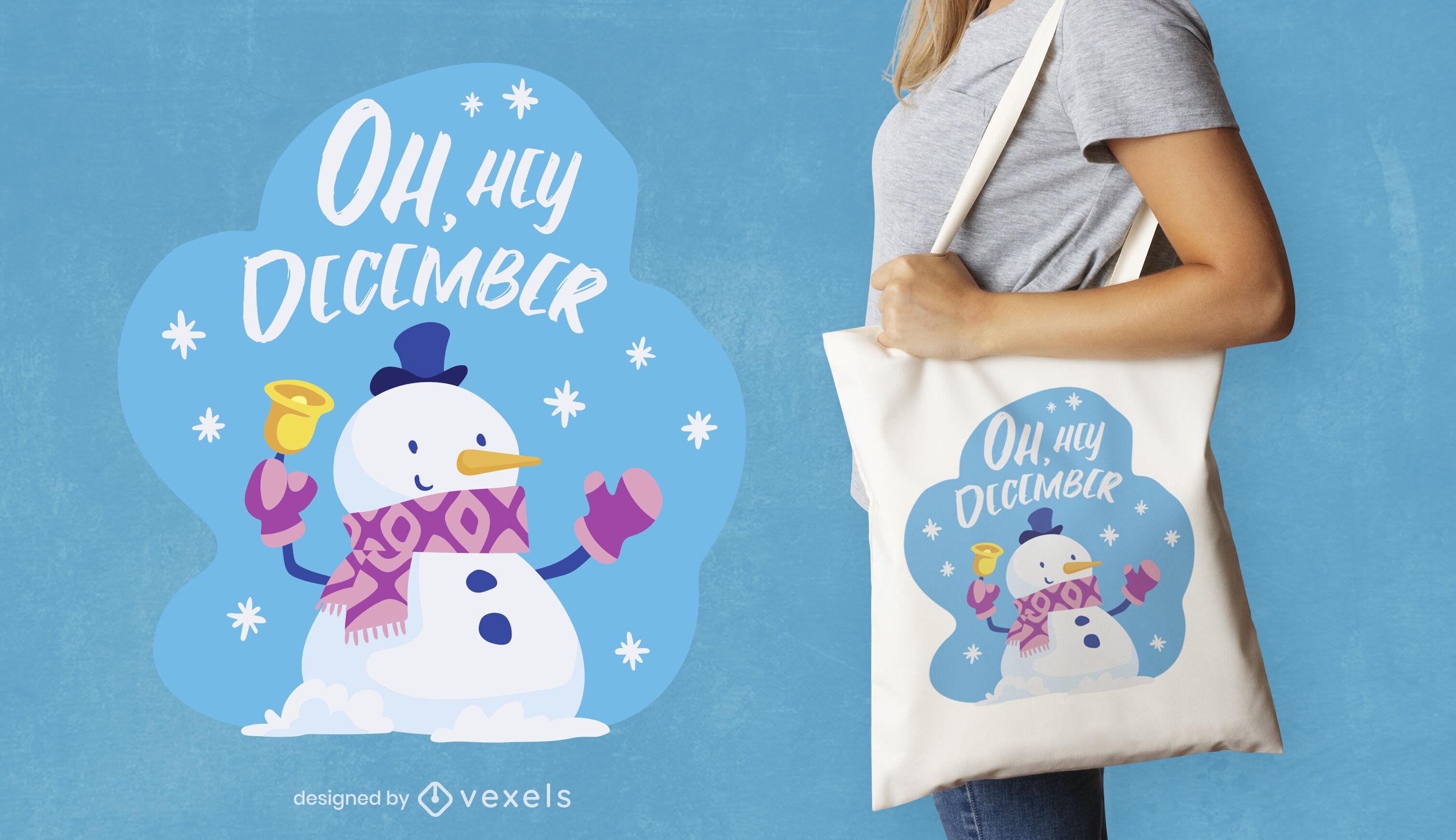 Snowman winter season tote bag design
