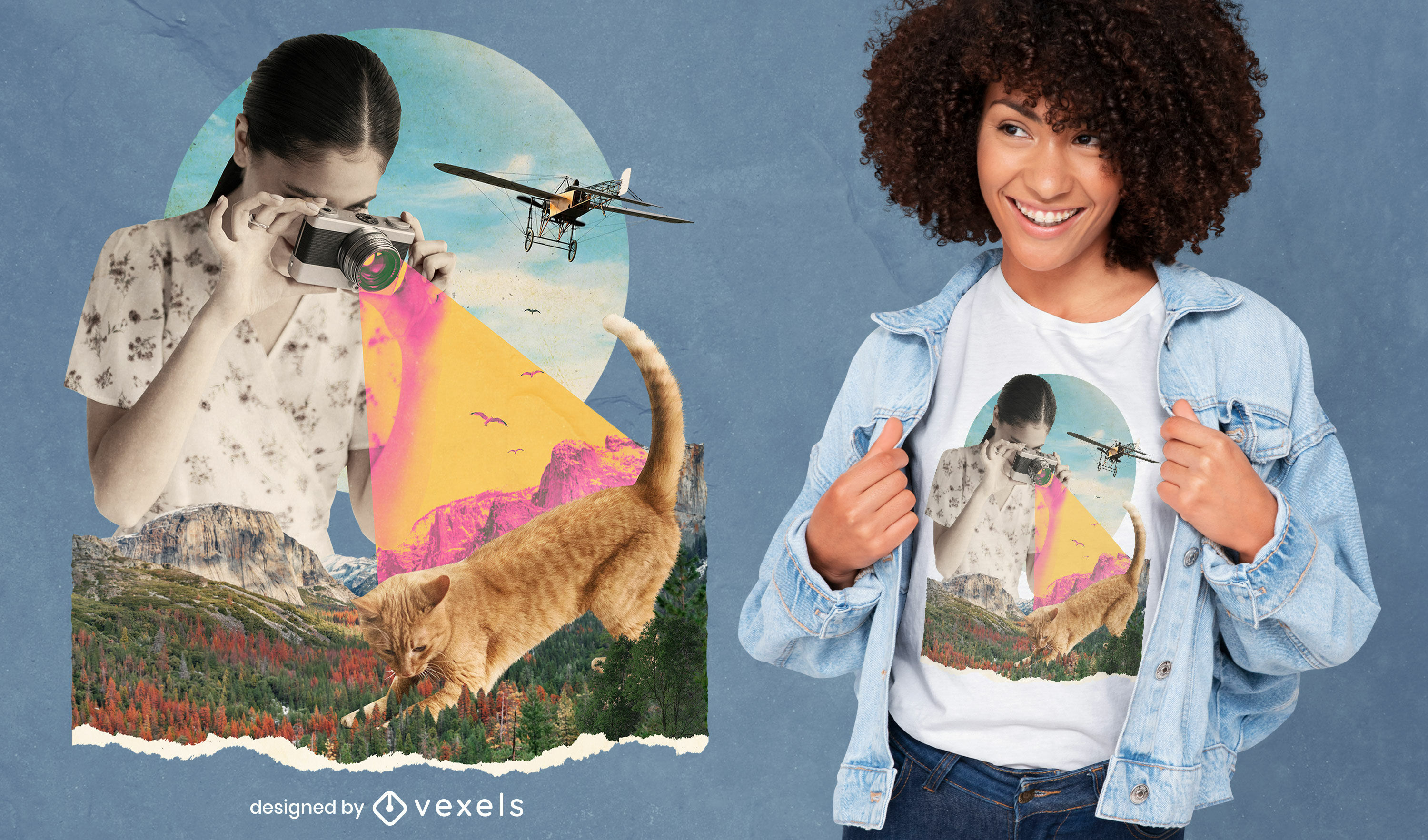 Collage girl camera and cat psd t-shirt design
