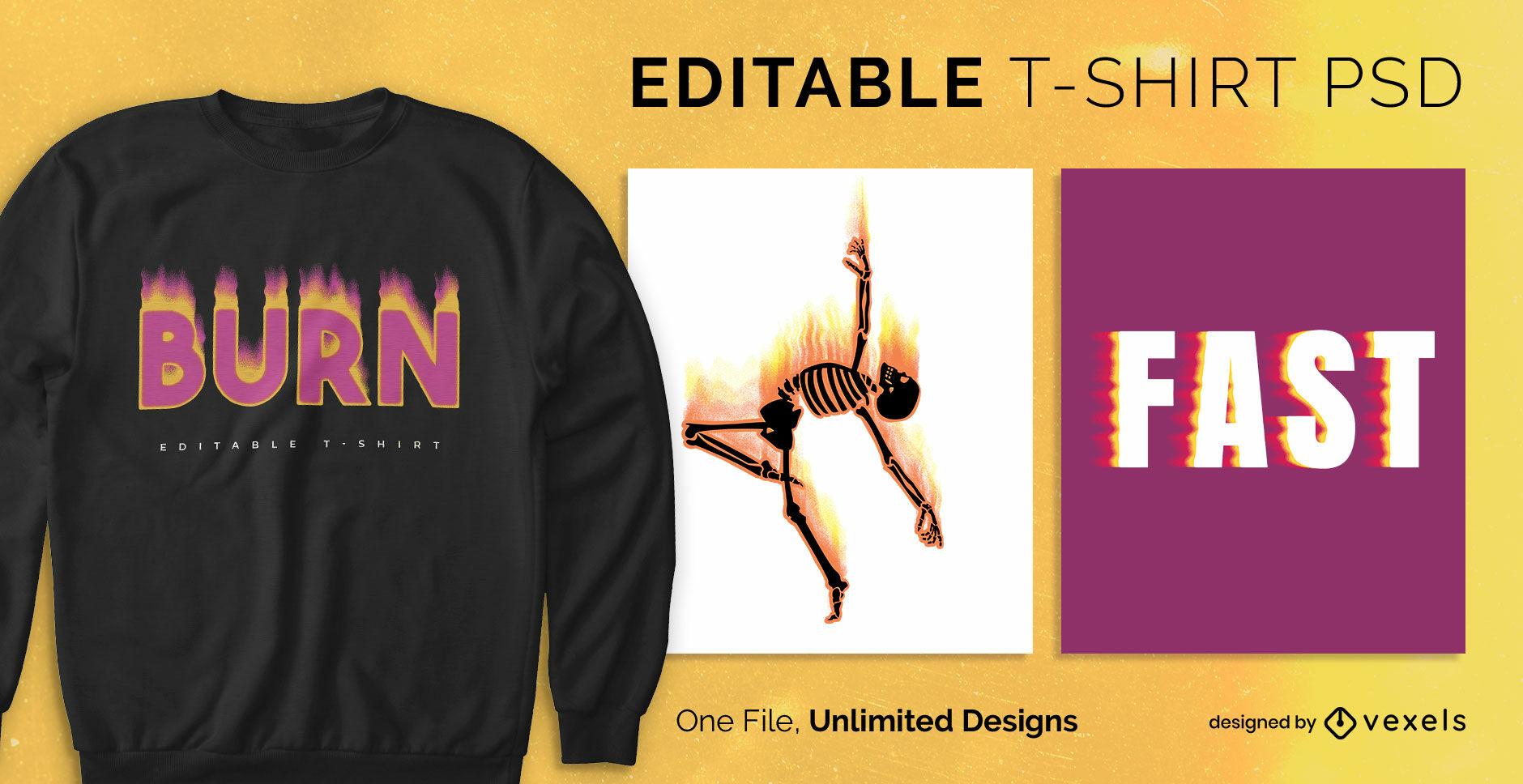 Fire effect psd scalabe t-shirt template