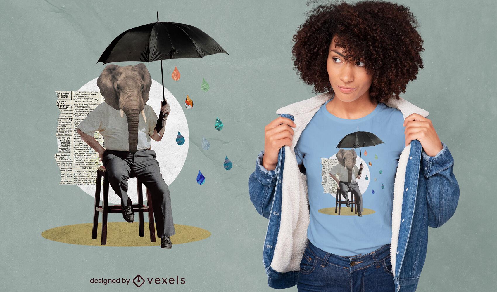 Diseño de camiseta de hombre elefante con paraguas psd