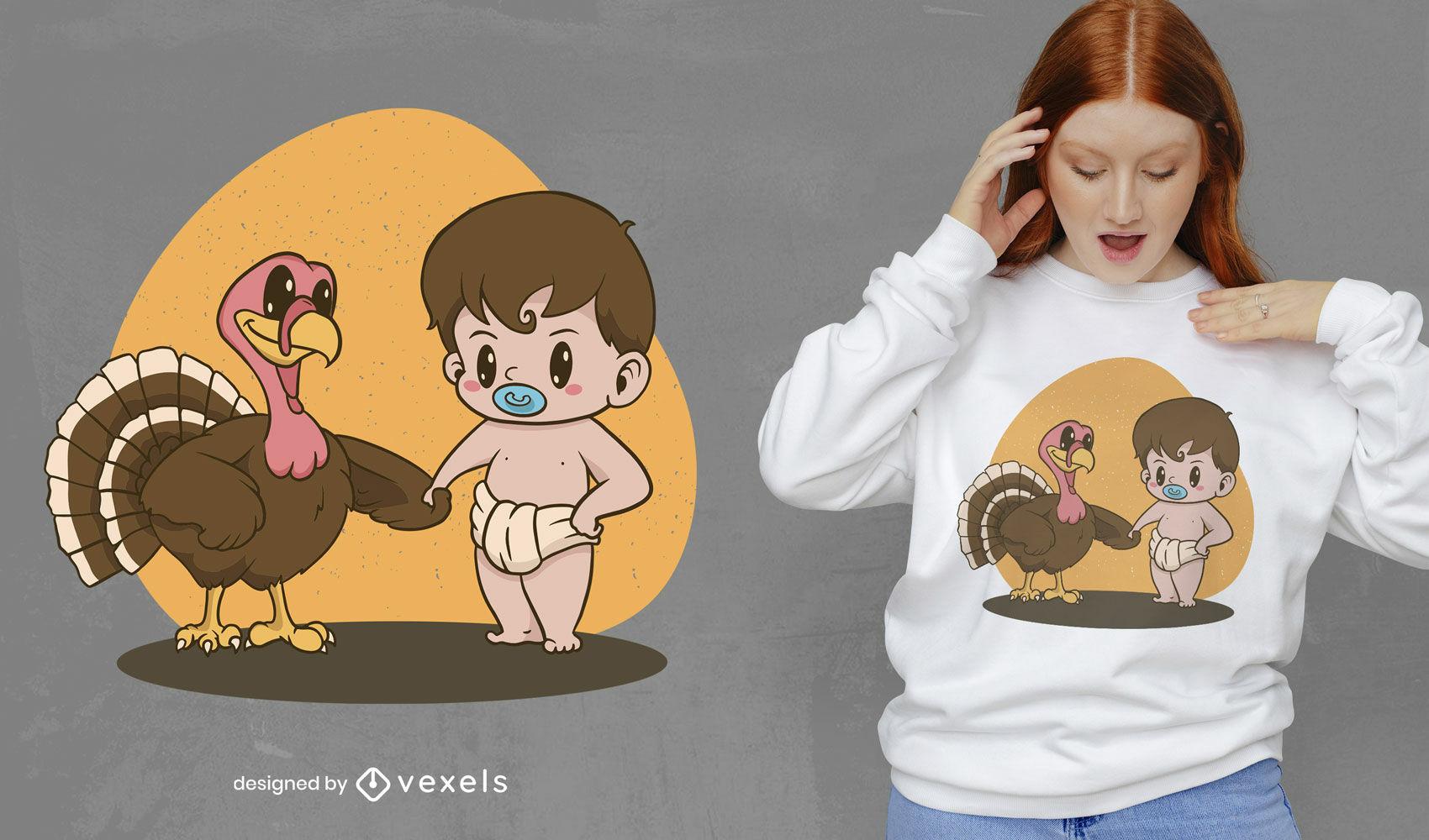 Baby and turkey t-shirt design