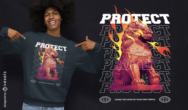 Design de t-shirt psd dragão chinês cão