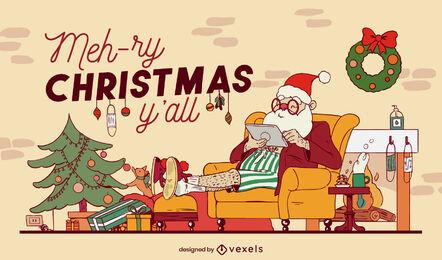 Santa claus cozy home christmas illustration