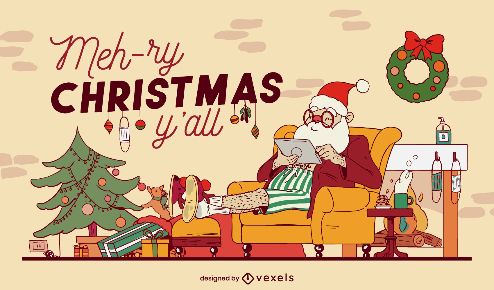 Ilustración de navidad acogedora casa de santa claus