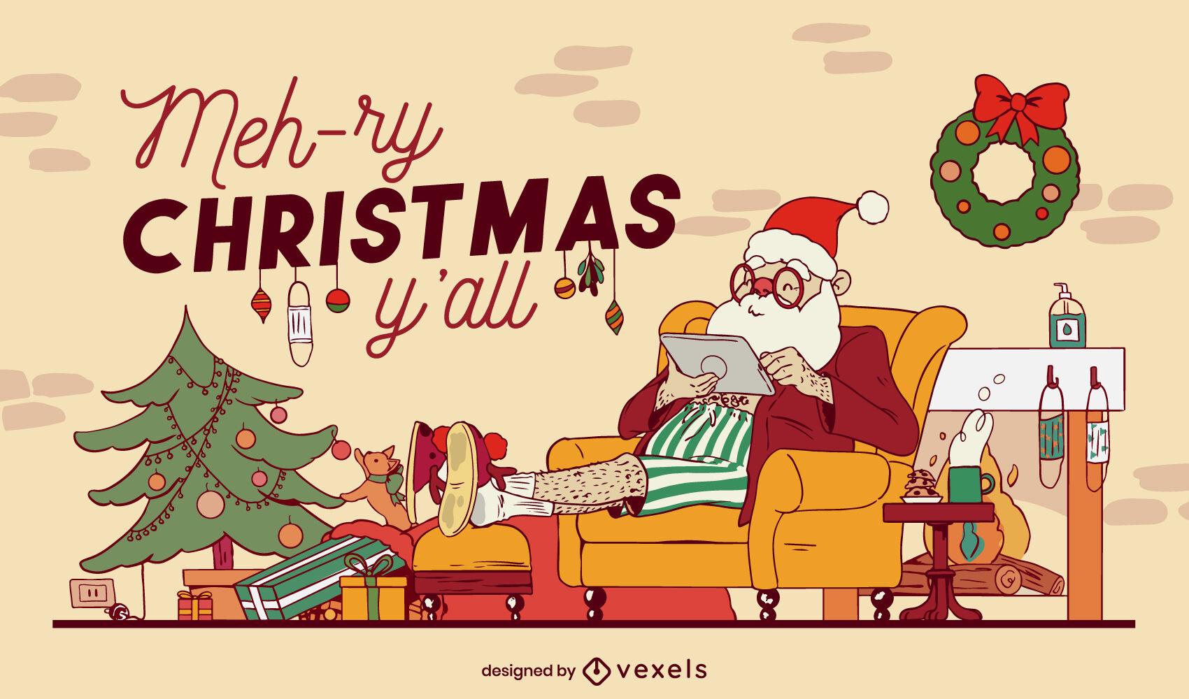Weihnachtsmann-gemütliches Zuhause-Weihnachtsillustration