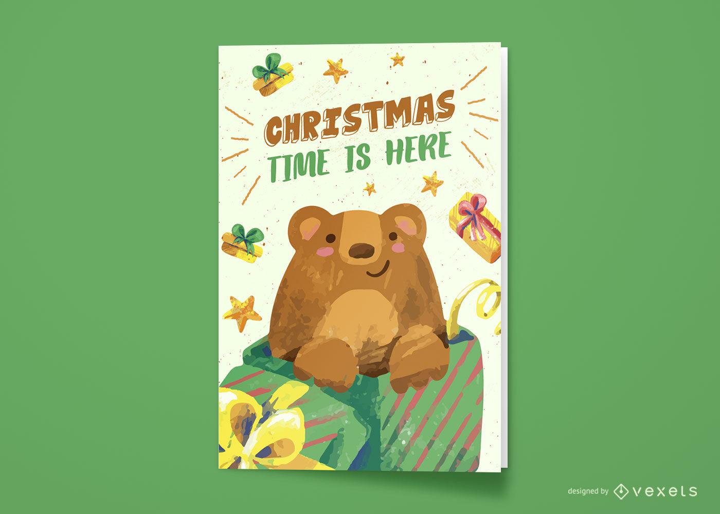 Tiempo de navidad con tarjeta de felicitaci?n de oso