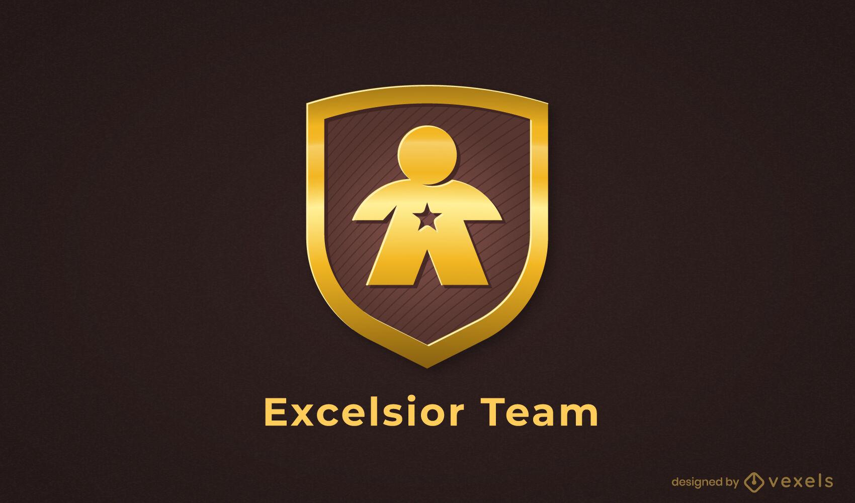 Persona en plantilla de logotipo de empresa de escudo