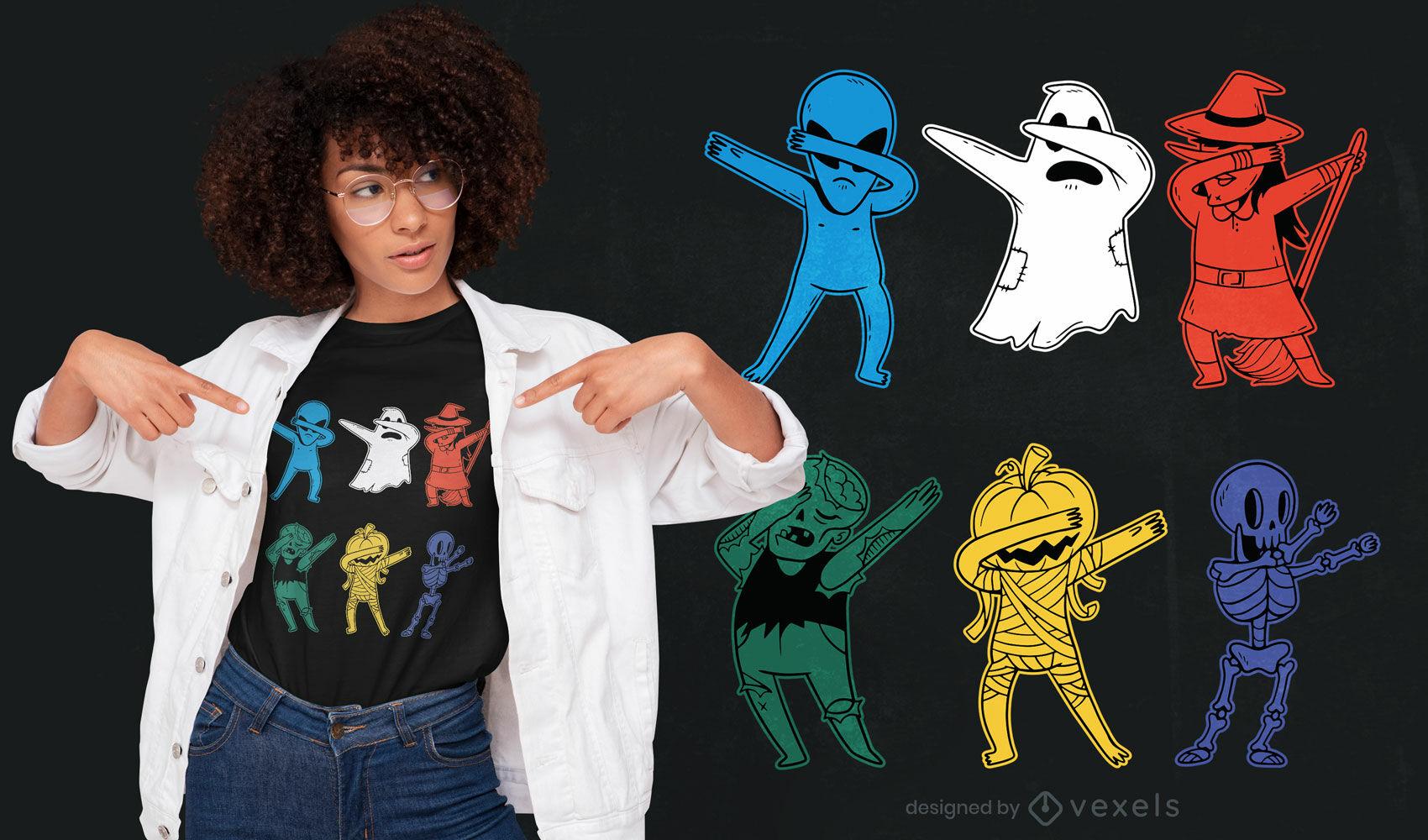 Diseño de camiseta de monstruos de Halloween dabbing