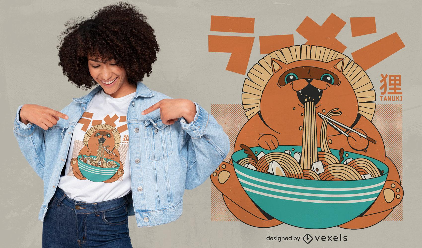 Cool tanuki eating ramen t-shirt design