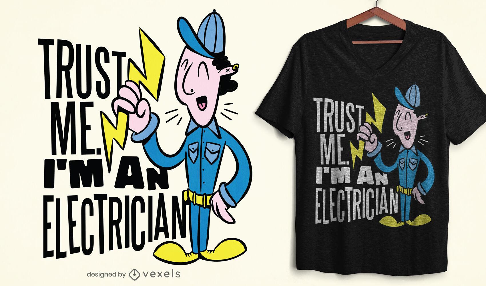 Design engraçado de camiseta eletricista