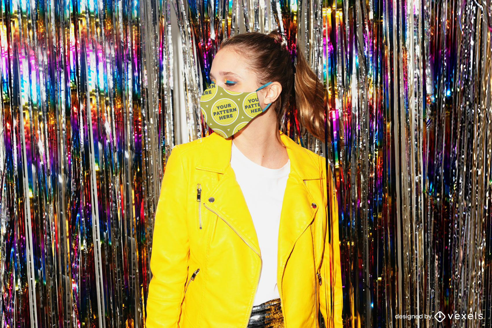 Face mask mockup girl in yellow jacket party background