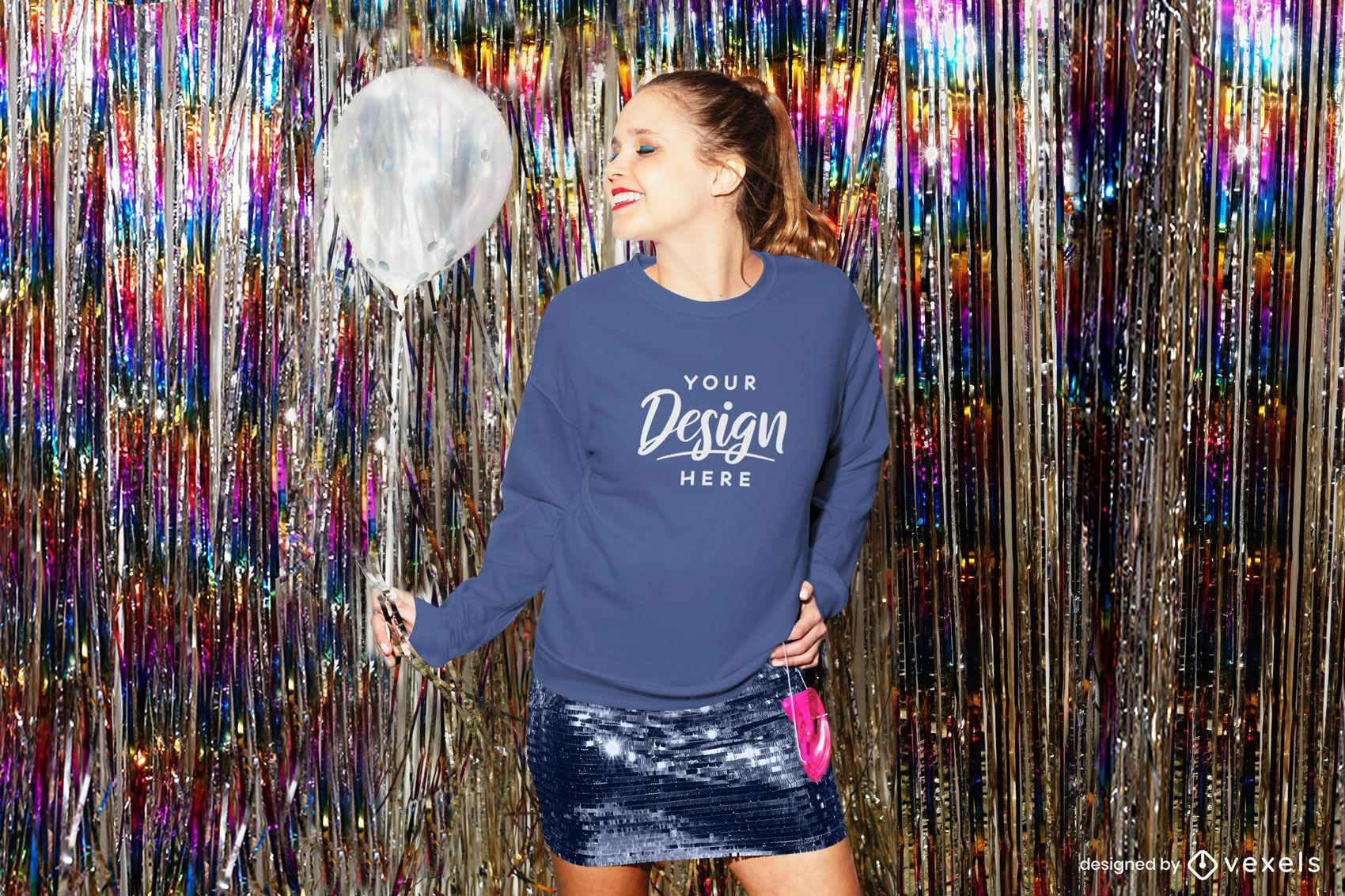 Blue sweatshirt girl in dance club background