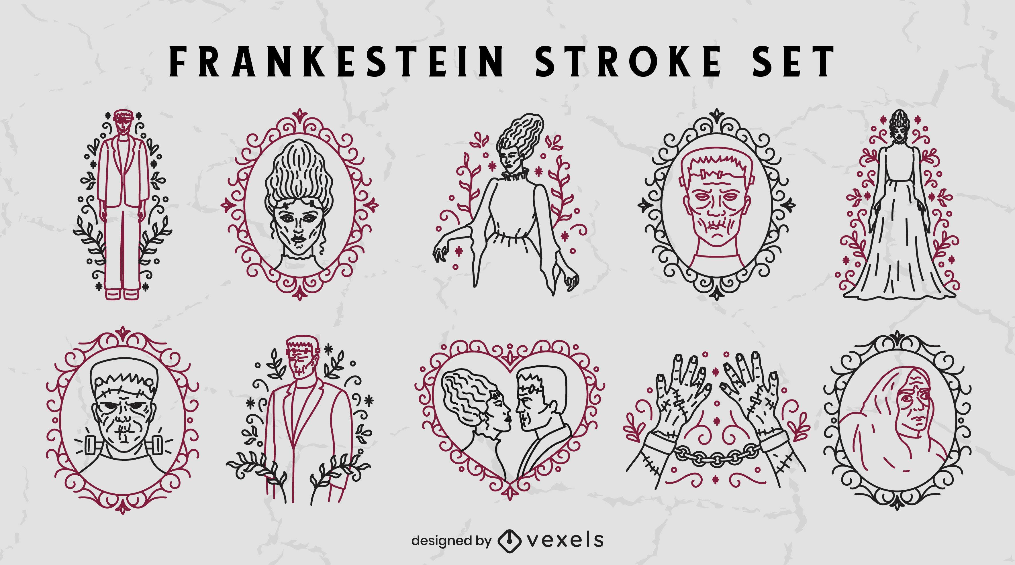 Conjunto de golpe de halloween do monstro Frankenstein