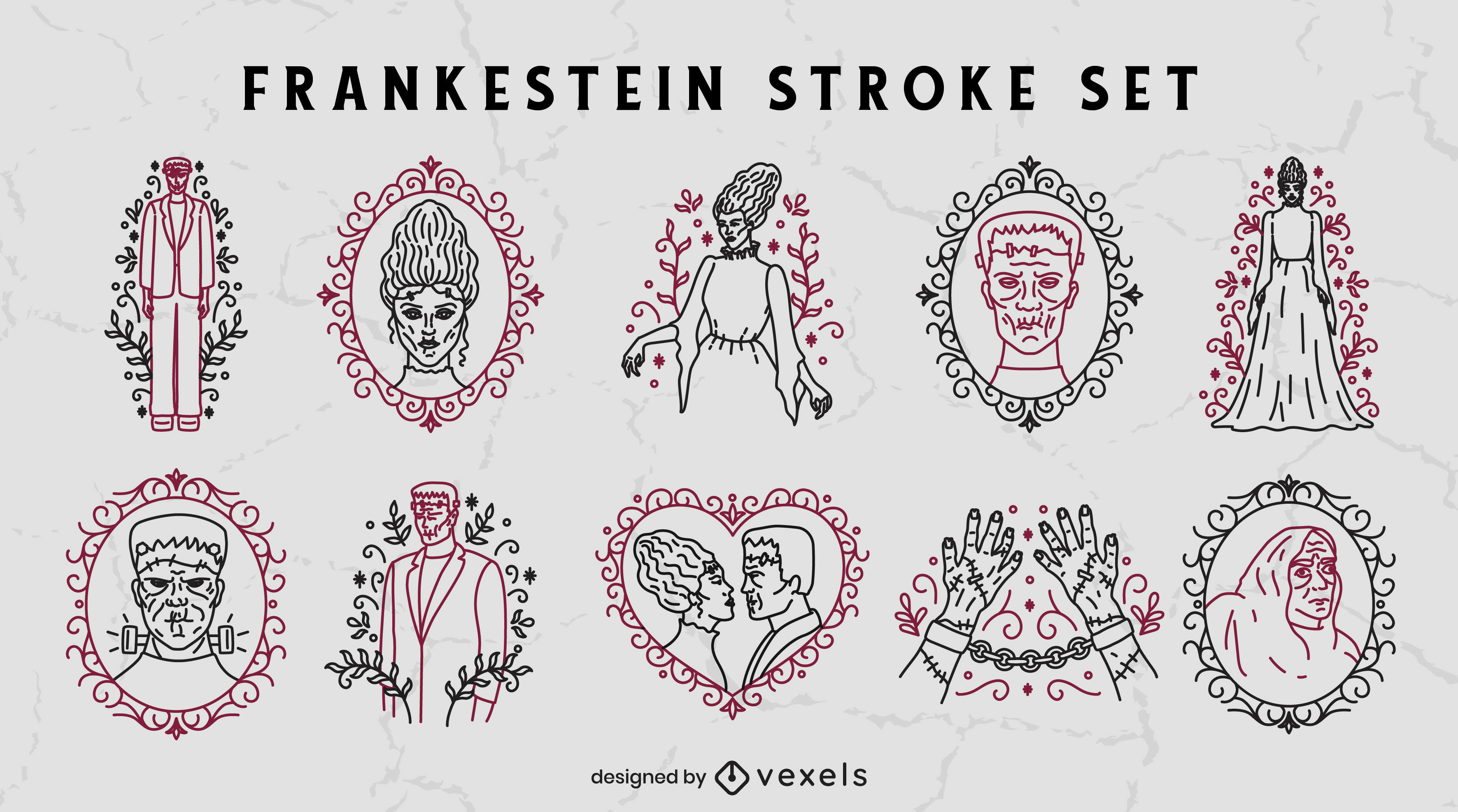 Conjunto de trazos de halloween del monstruo de Frankenstein
