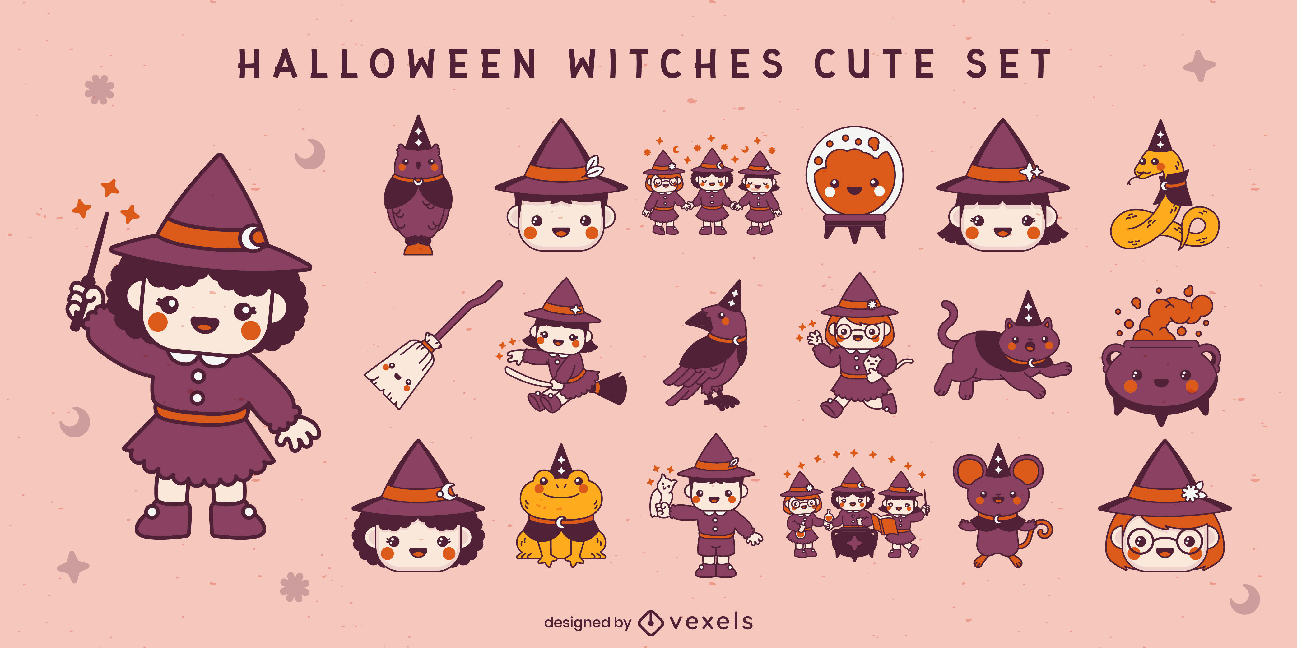 Cute children witches halloween set