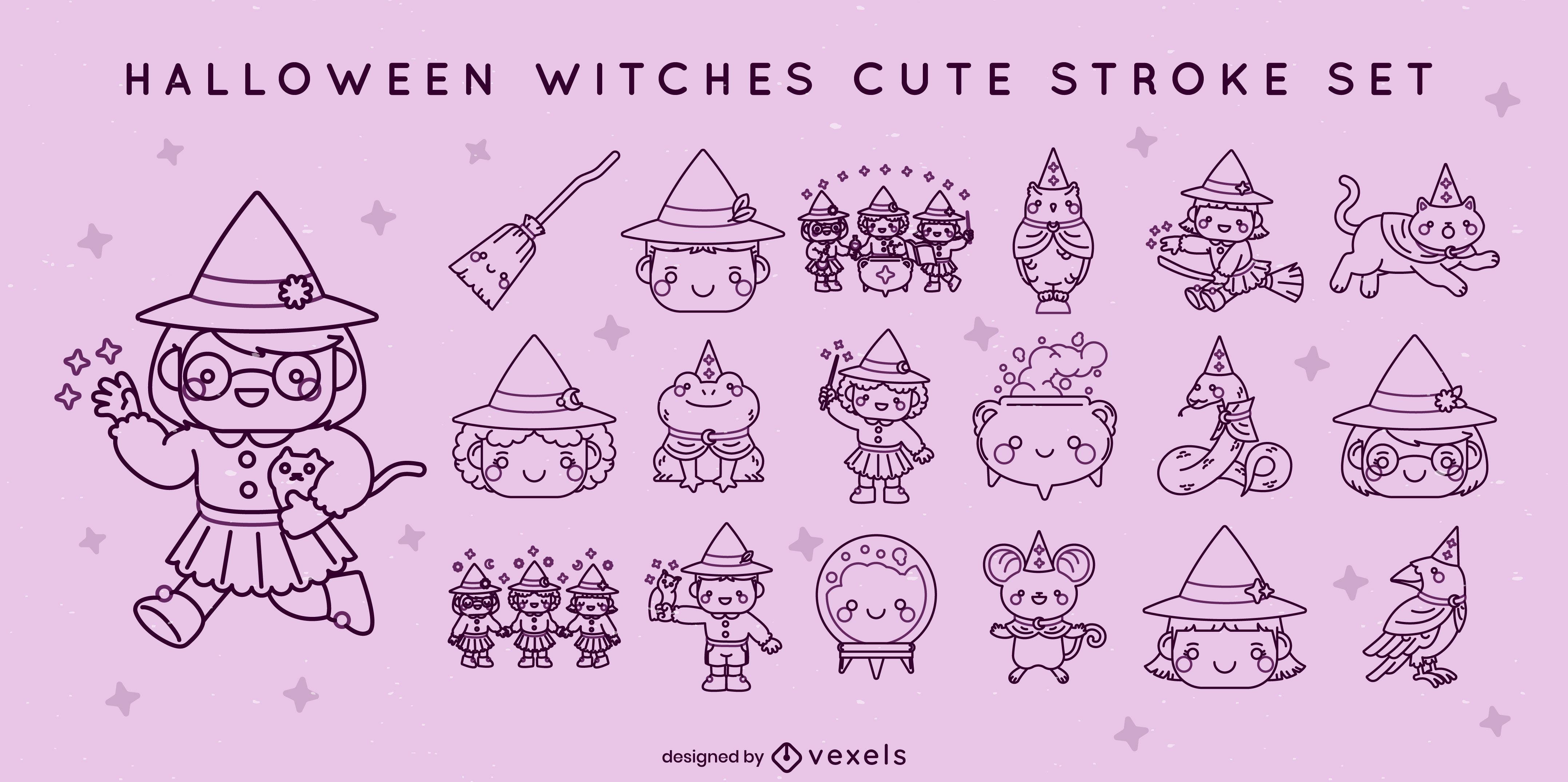 Cute children witches halloween stroke set