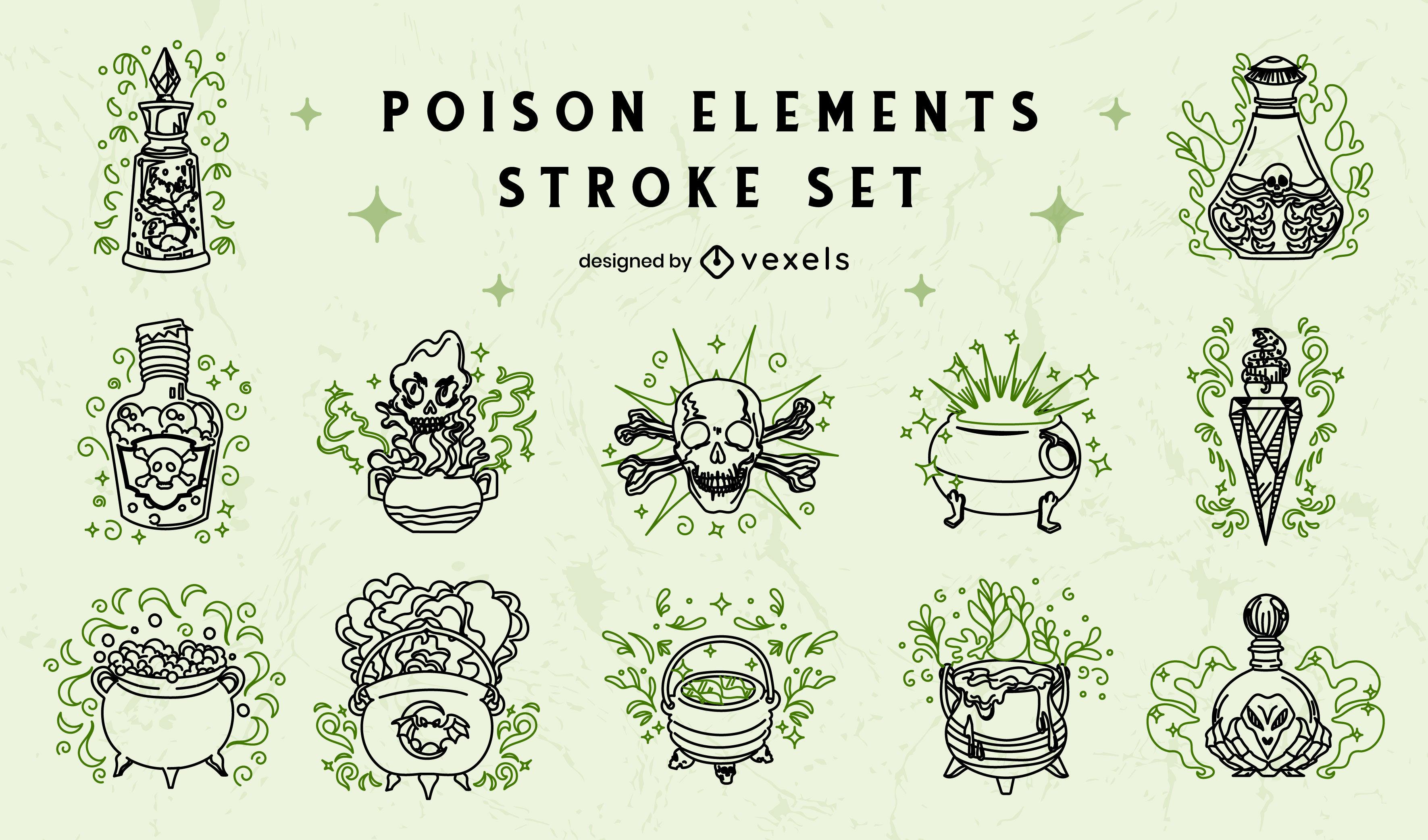 Magic witch potions fantasy stroke set