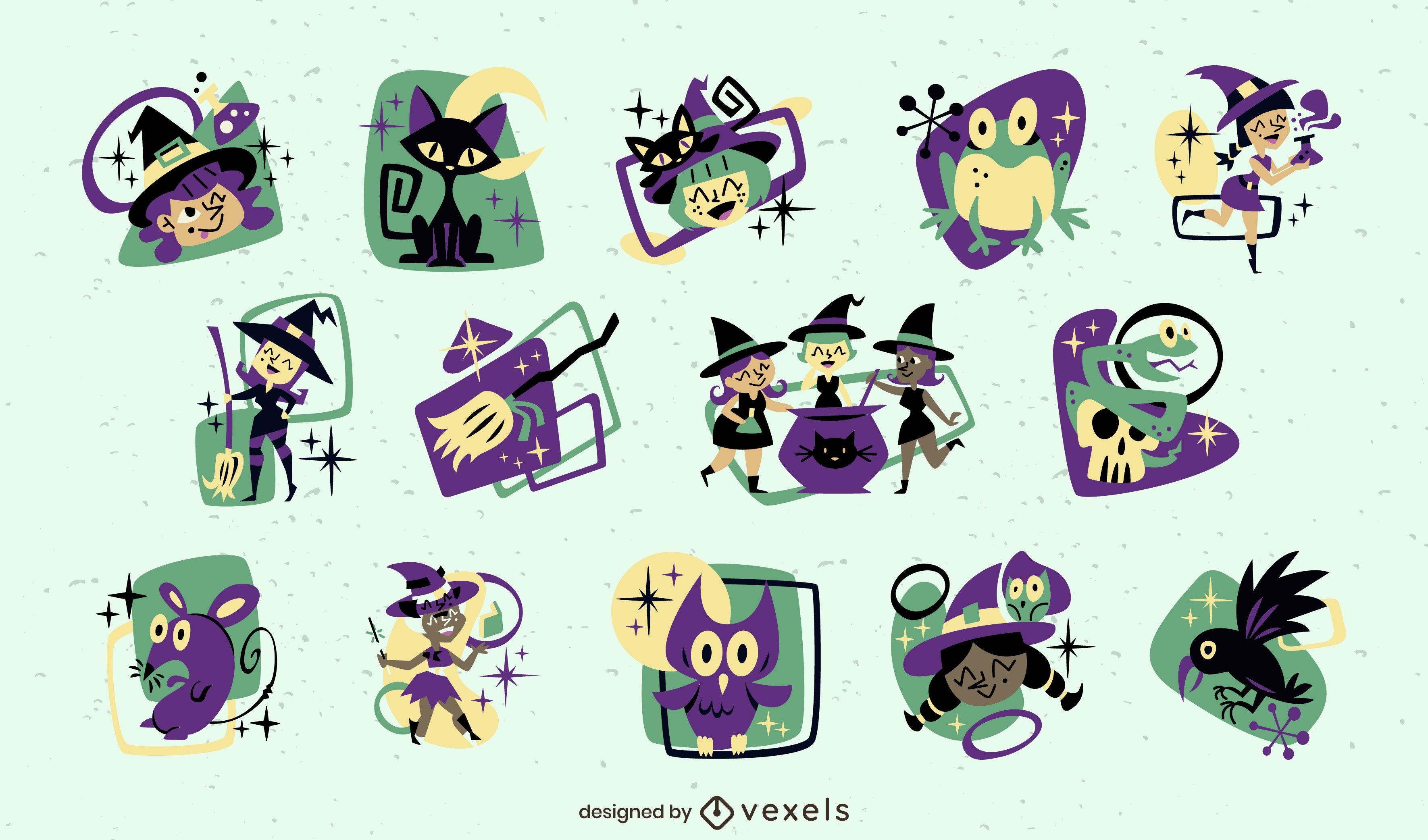 Conjunto de elementos retro de bruja de halloween
