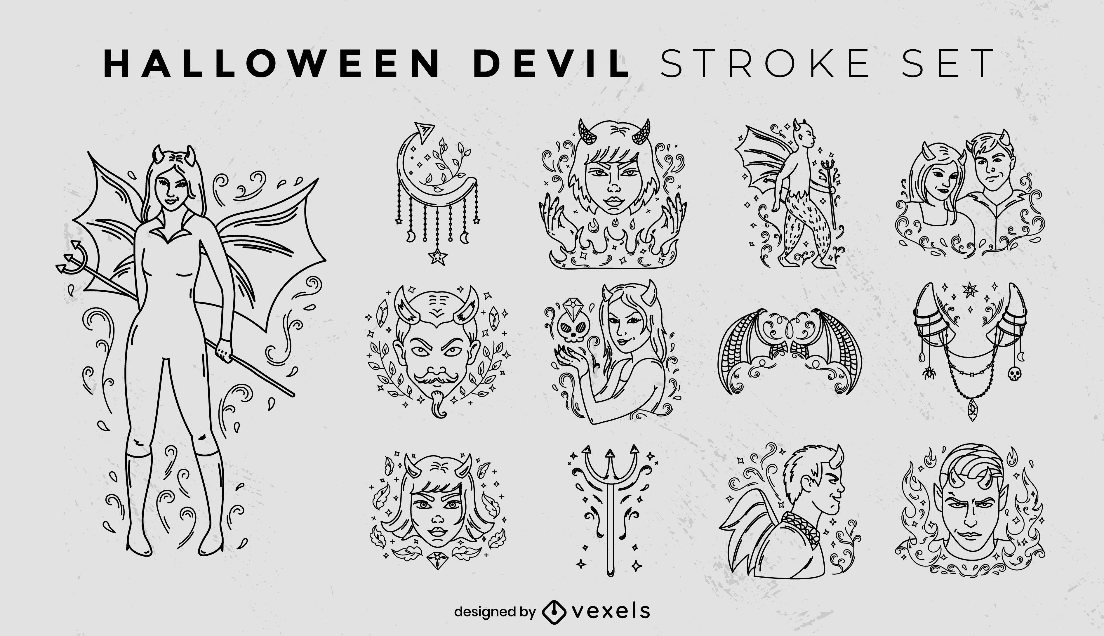 Conjunto de trazos de diablo de halloween