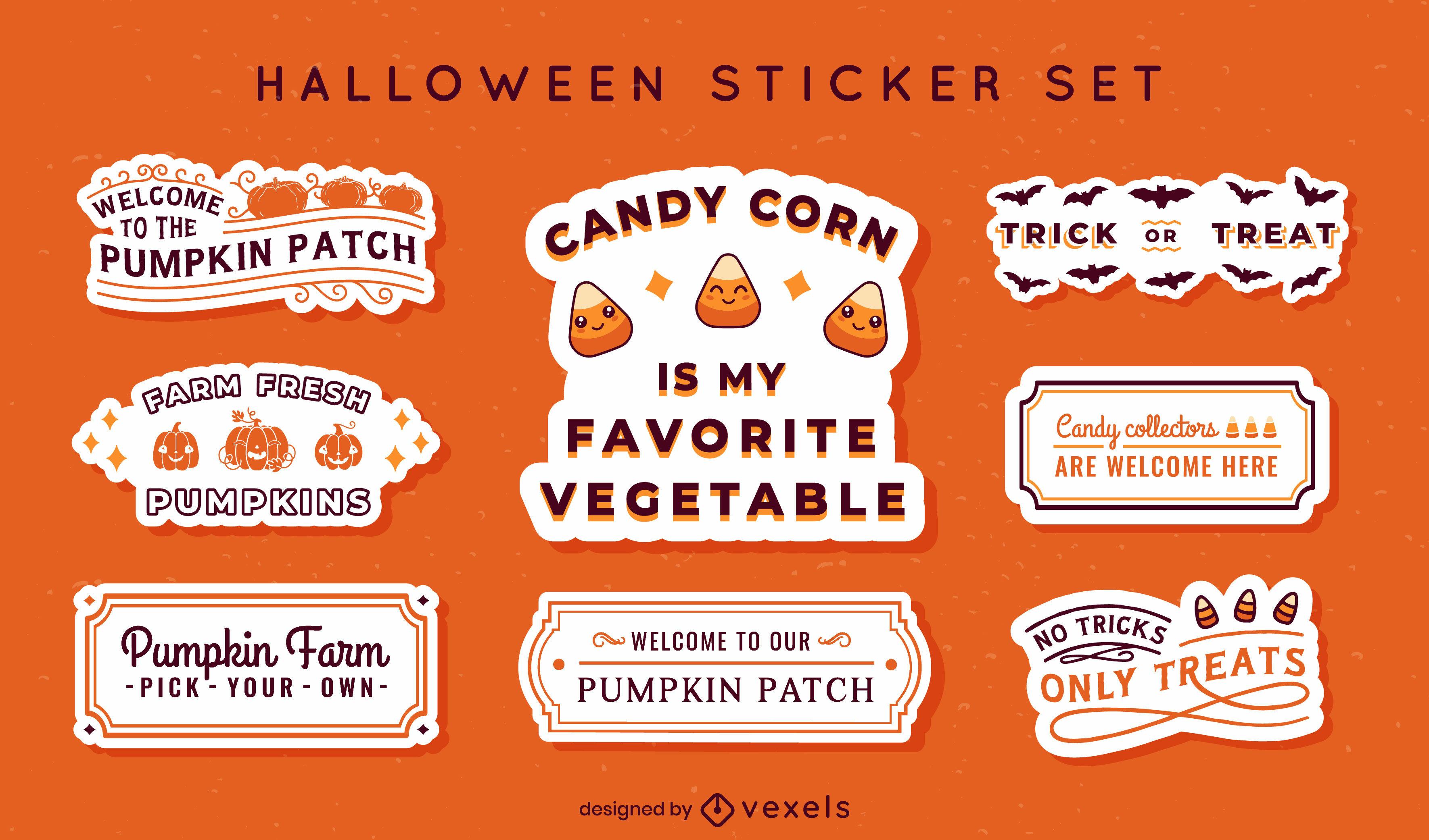 Conjunto de adesivos de comida e guloseimas para o Halloween