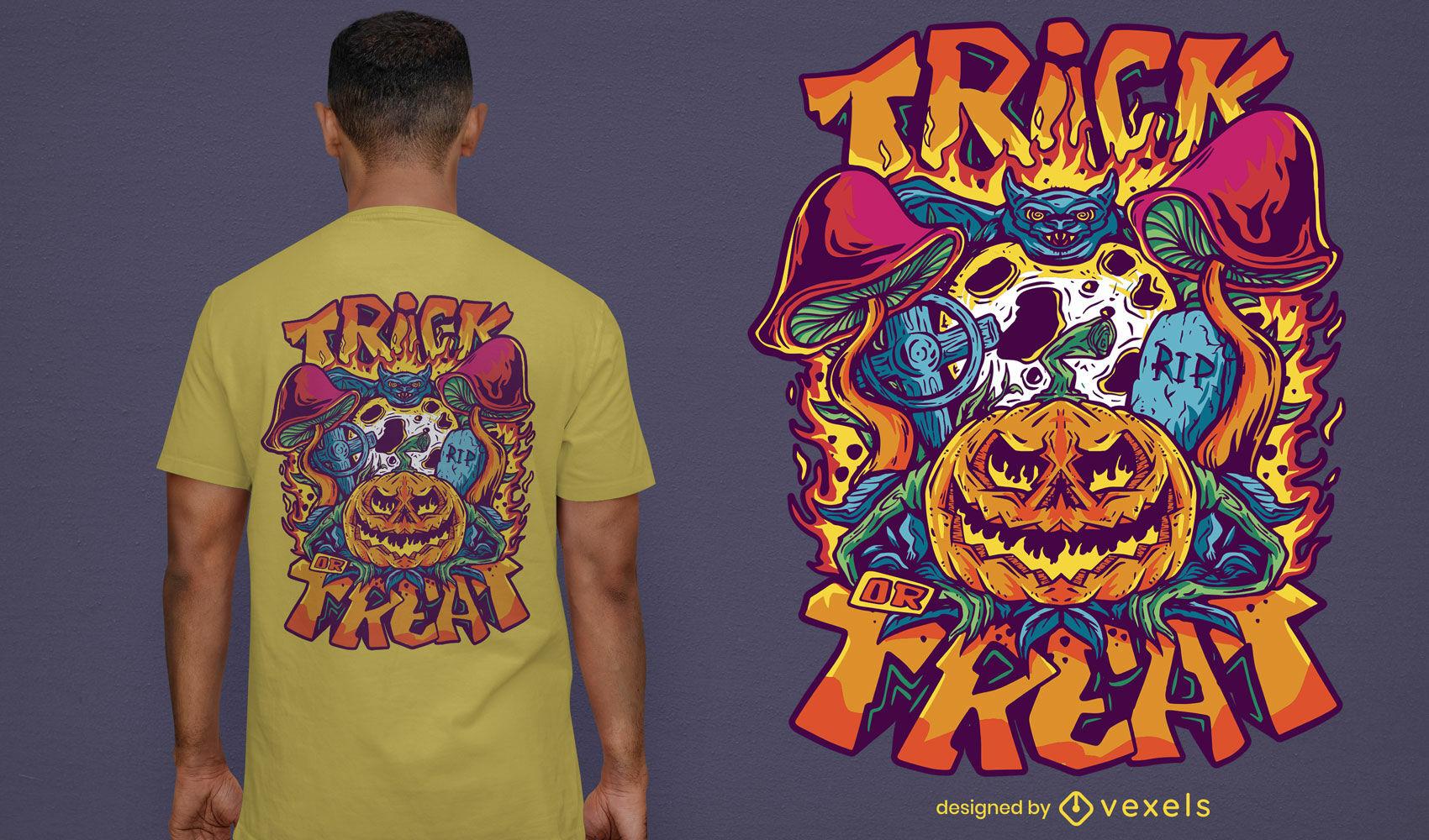 Design de t-shirt de Halloween doçura ou travessura trippy