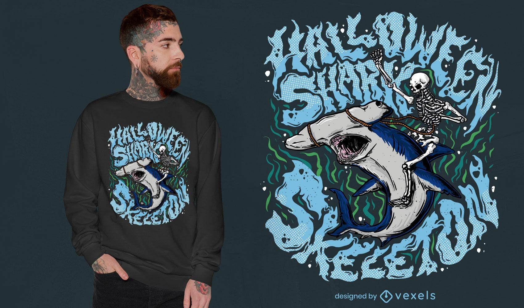 Desenho de tubarão trippy de Halloween e camiseta de esqueleto