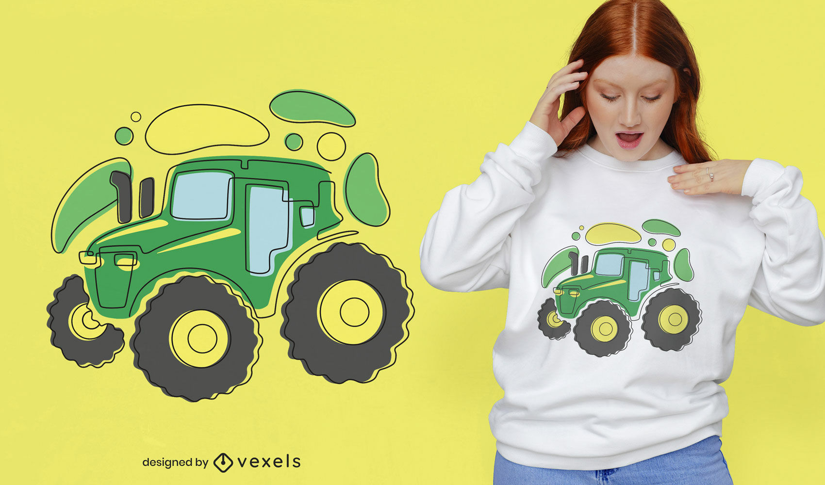 Abstract tractor t-shirt design