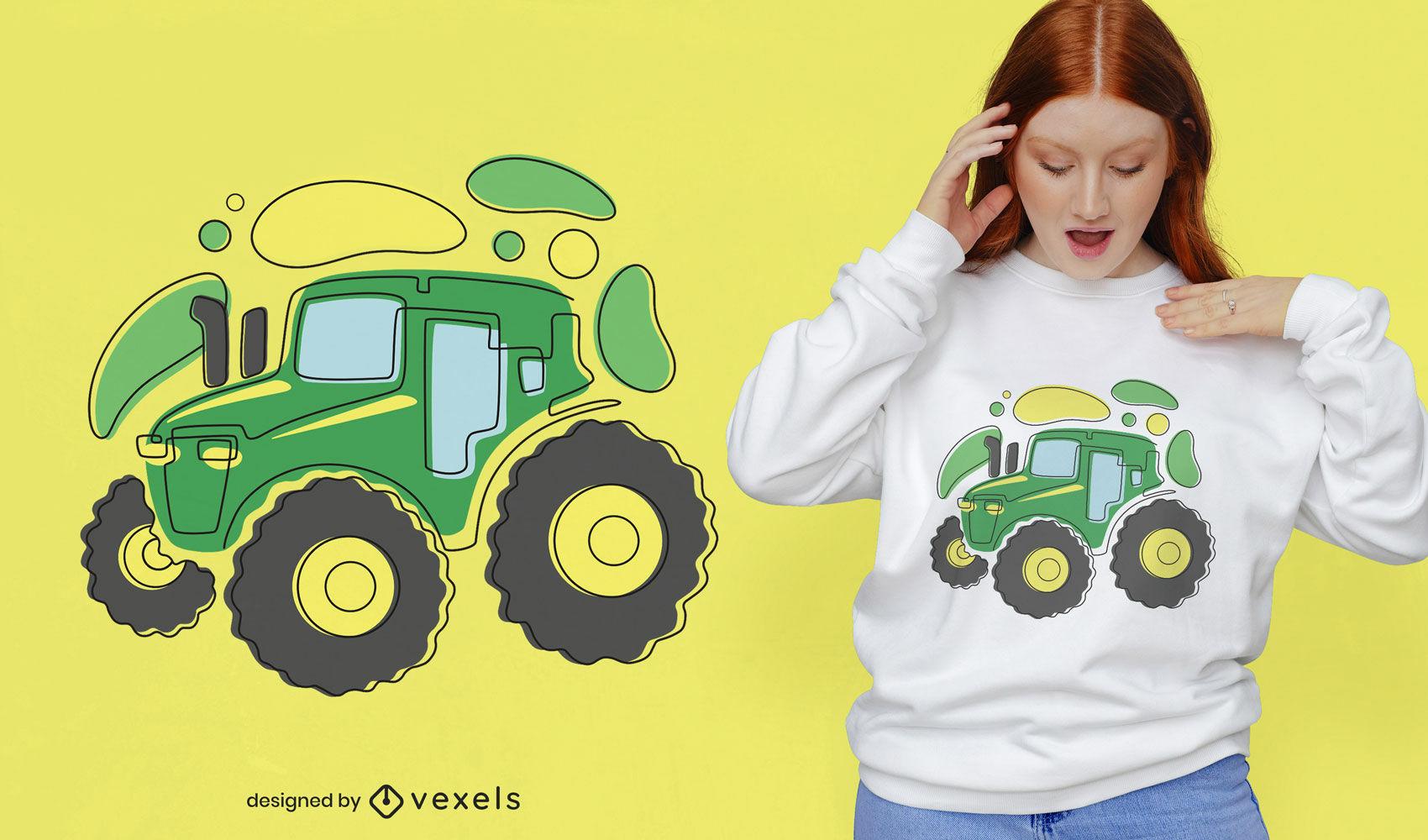 Diseño de camiseta de tractor abstracto