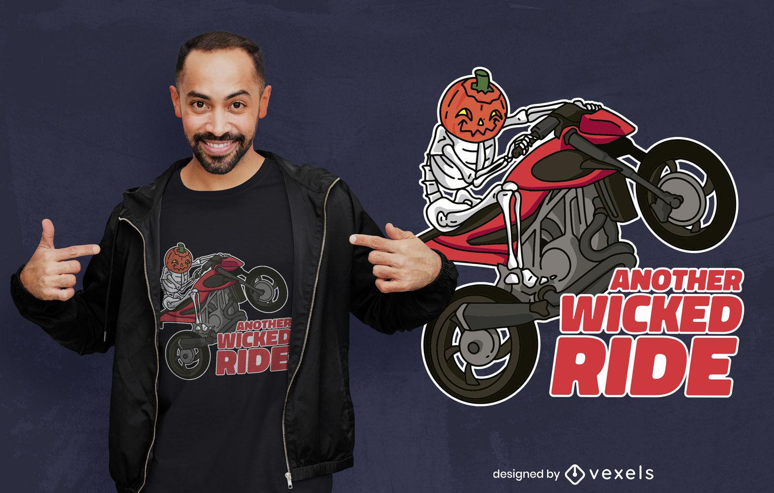 Pumpkin skeleton bike t-shirt design
