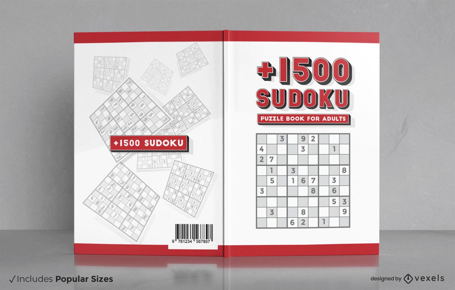 Diseño de la portada del libro del juego de rompecabezas Sudoku