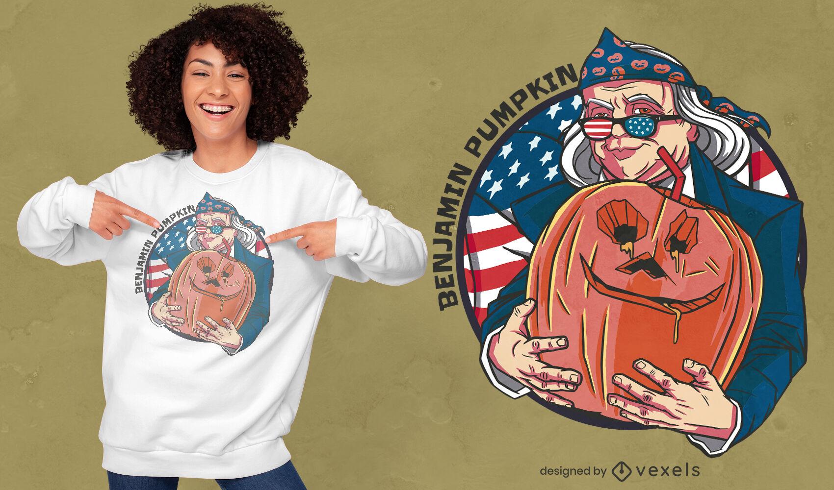 Design de camiseta de abóbora Benjamin Franklin
