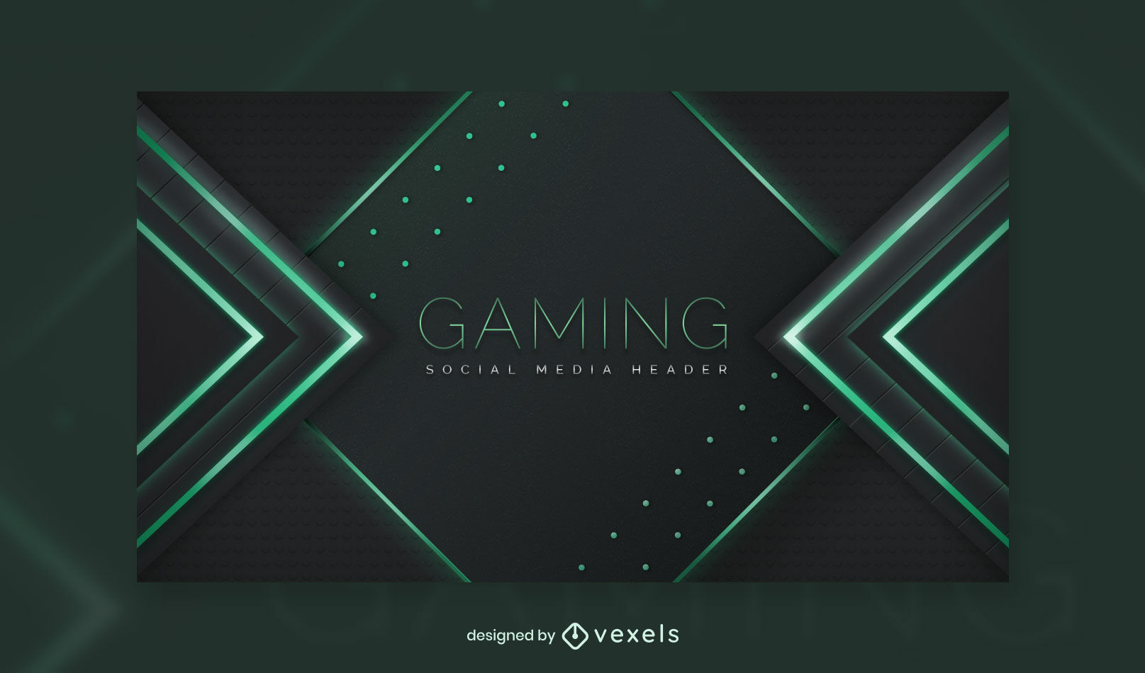 Neon lights gaming facebook cover template