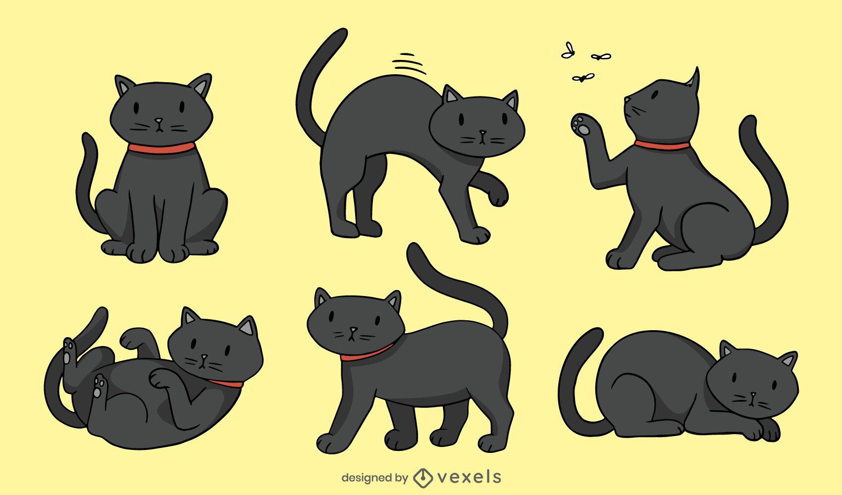 Nettes schwarzes Katzenillustrationsset
