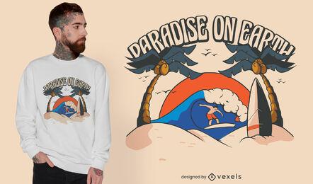 Paradise surf beach t-shirt design