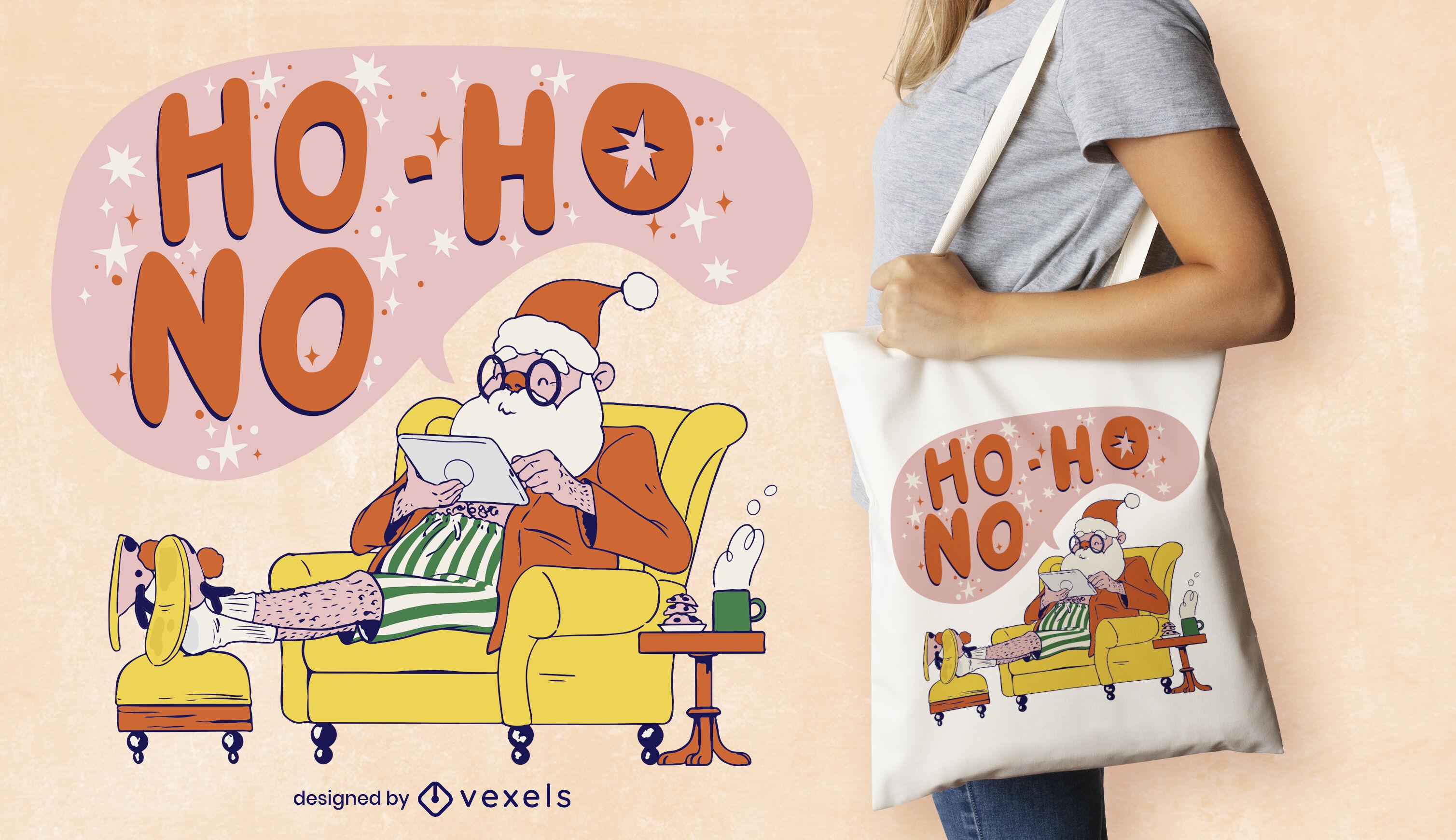Santa claus chilling christmas tote bag design