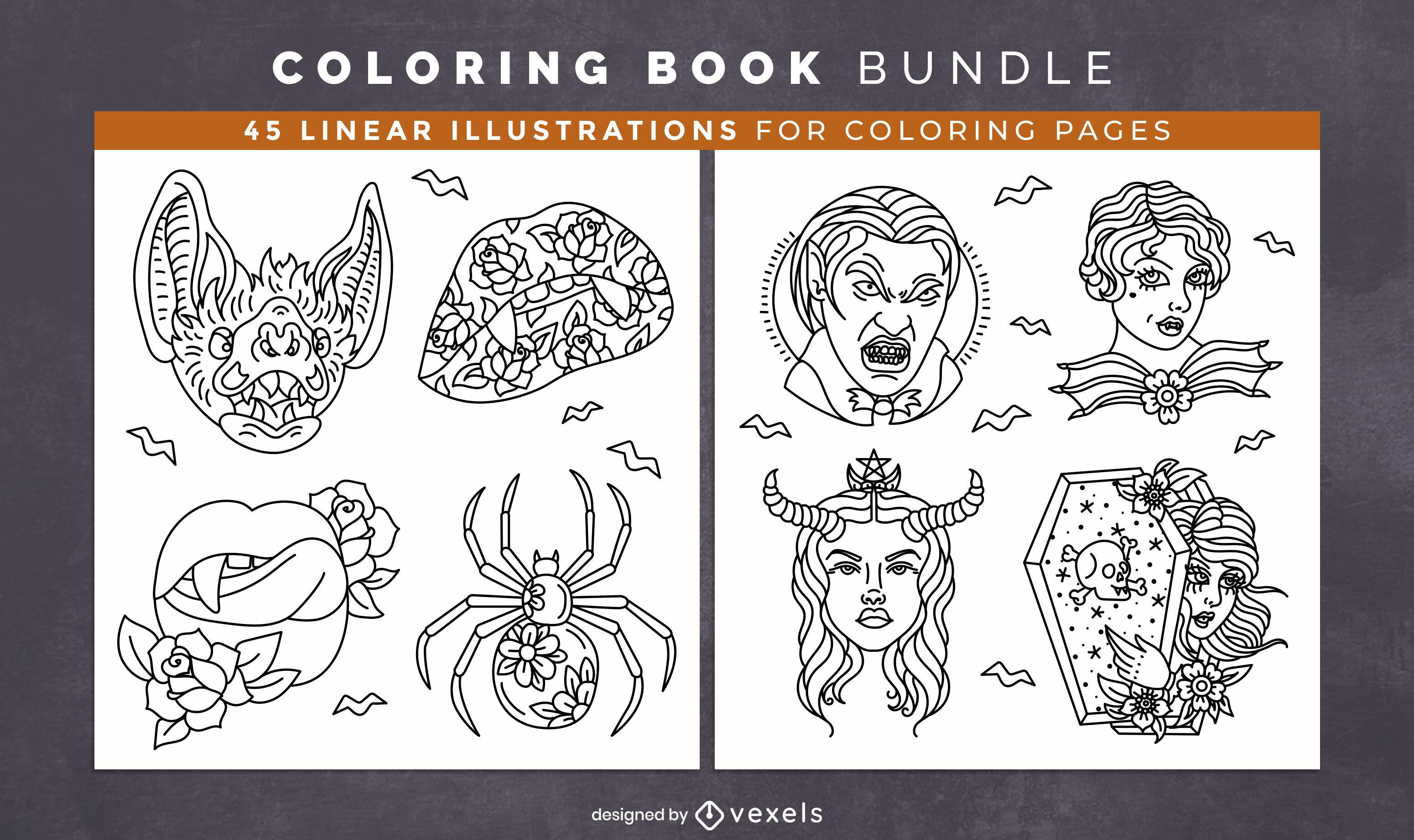Projeto de livro para colorir de itens de vampiro de Halloween